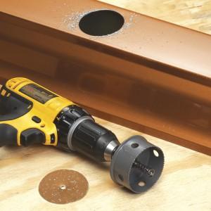 Насадка на дрель для вырезки отверстий в желобе под сливную воронку, 78 мм